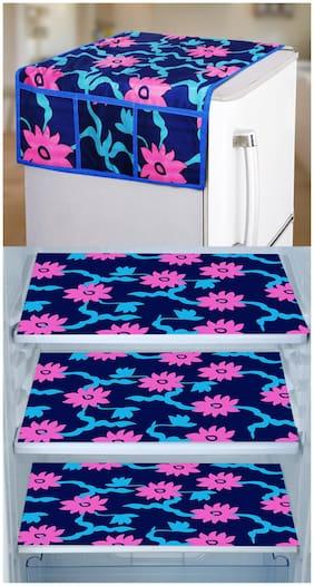 E-Retailer Set of 1 pc Fridge Top Cover with 6 Utility Pockets And 3 pcs Fridge Mats (PinkBlue Set of 4)