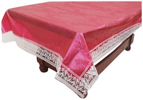 """E-Retailer Stylish Mehroon Leaves Design With Printed Lace Center Table Cover 40""""X60"""""""