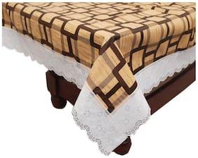 "E-Retailer Stylish Brown Big Square Design With White Lace Center Table Cover 40""X60"""