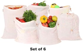 Earthy Fab Fridge Bag for Vegetables Storage. 100% Cotton;Biodegradable;Reusable;Multipurpose. Set of 6
