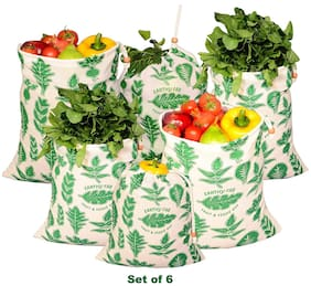 Earthy Fab Vegetable Storage Bags for Fridge;Eco Friendly Cotton;Multipurpose Grocery Bag. Set of 6