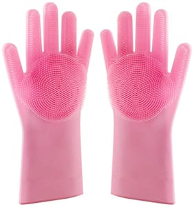 Eastern Club Silicone Dish Washing Gloves, Silicon Cleaning Gloves Wet and Dry Glove Set  (Free Size Pack of 1 Pair)
