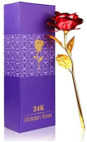 Eastern Club Beautiful Valentine's Day Gifts 24k Golden Red Rose Flower Gold Foil Rose