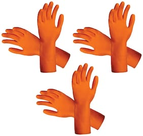 Eastern Club Reusable Rubber Cleaning Gloves Free Size For Washing;Cleaning Kitchen;Gardening Pair Of-3