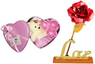 Eastern Club Valentine's Day Teddy (6 inch) and 24K gold plated golden Red rose with love stand and with unique gift box - best gift for love ones
