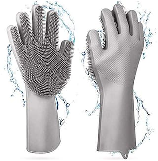 Eastern Club Silicone Dish Washing Gloves, Silicon Cleaning Gloves Kitchen Gloves Wet and Dry Glove Set (Free Size Pack of 1 Pair)