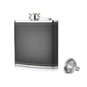 Easy Carry Stainless Steel & Stitched Leather Hip Flasks For Men And Women With Funnel - Liquor Or Alcohol Drinks Wine Whiskey Vodka Holder - 7 Oz ( 210 Ml)