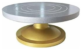 Easy Rotate 360 Degree Turntable Revolving Cake Decorating Stand (30 cm) Diameter, Silver