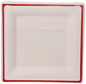 ECOWARE TAAREY:100% Biodegradable, Compostable, Ecofriendly, Disposable 8 inch Square Plate (Red, Pack Of 25 Plates)