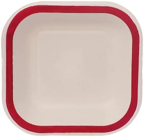 ECOWARE TAAREY:100% Biodegradable, Compostable, Ecofriendly, Disposable 6 inch Square Plate (Red, Pack Of 25 Plates)