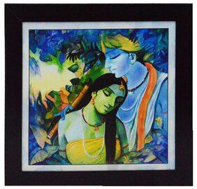 eCraftIndia Radha Krishna Love Scene Framed Painting