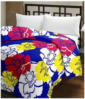 Ecraftindia Multicolor Flowers Design Single Bed Reversible Blanket