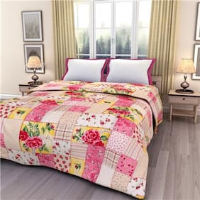eCraftIndia Pink Floral Single Bed Reversible AC Blanket