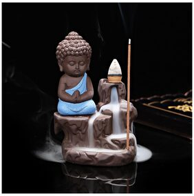 eCraftIndia Meditating Monk Buddha Smoke Backflow Cone Incense Holder Decorative Showpiece with 10 free Smoke Backflow Scented Cone Incenses