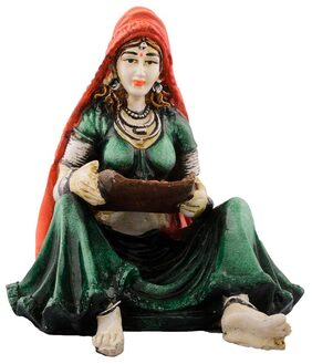 eCraftIndia Polyresin Rajasthani Lady Showpiece