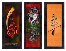 eCraftIndia Set Of 3 Ganesha & Krishna Lord Buddha Satin Matt Texture UV Art Painting