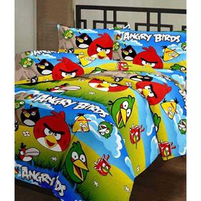 Ecraftindia Angry Birds Kids Single Bed Reversible Ac Blanket