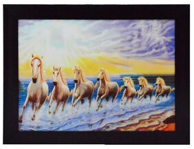 eCraftIndia Running Lucky Horses Design Framed Painting