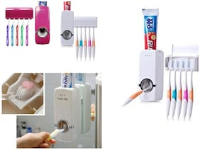 EDITRIX Automatic Toothpaste Dispenser And Toothbrush Holder Brush Stand Toothpaste Stand