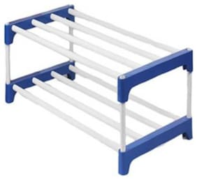 EEMWAY Extra Strong Multipurpose Rack for Shoes, Clothes, Books & Utility Rack, Steel Frame with Metal ( 2 Shelves)