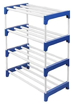 EEMWAY Extra Strong Multipurpose Rack for Shoes, Clothes, Books & Utility Rack, Steel Frame with Metal (4 Shelves)