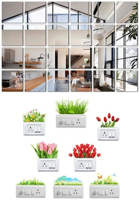 Eja Art Big Square 24 Silver Acrylic Wall And Switch Board Sticker