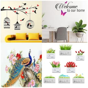 EJA Art Combo of 4 Wall Sticker Love Birds With Hearts Welcome To Our Home Butterfly Royal Peacock Sb Flowers