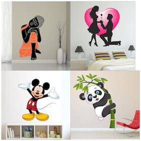 EJA Art Combo of 4 Wall Sticker Sleeping Buddha Valentine My Love Old Cute Mickey Mouse baby Panda