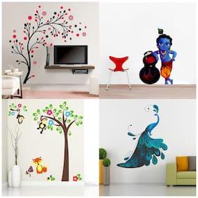 EJA Art Combo of 4 Wall Sticker Magical Tree Makhanchor Modern Peacock Monkey Hanging On Tree