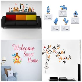 EJA Art Combo of 4 Wall Sticker Destinations Beautiful Tree With Flower Welcome Sweet Home Cute Birds