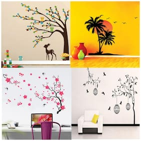 EJA Art Combo of 4 Wall Sticker Free Bird Case Black Brown Tree Cute Animals Beach With Sunset Different Tree With Flower