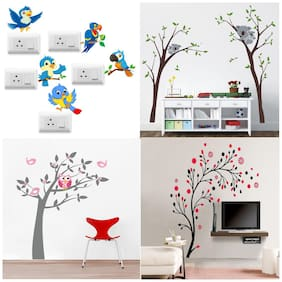EJA Art Combo of 4 Wall Sticker Owl Tree Koala Tree Magical Tree SB Twitter Bird