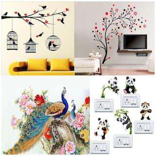 EJA Art Combo of 4 Wall Sticker Love Birds With Hearts Magical Tree Royal Peacock Panda