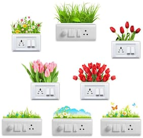 Eja Art Flowers Vinyl Switch Board Sticker
