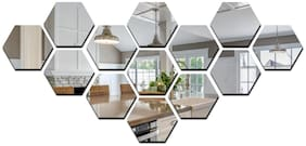 Eja Art Hexagon 13 3D Mirror Acrylic Wall Sticker