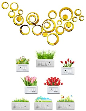 Eja Art Ring Golden 24 Acrylic Wall And Switch Board Sticker