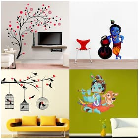 EJA Art Set of 4 Wall Sticker Lord Krishna Flute Playing With Cow love Birds With Hearts magical Tree makhanchor