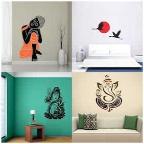 EJA Art Set of 4 Wall Sticker Sleeping Buddha Royal Ganesh Shiv Parwati Sunrise