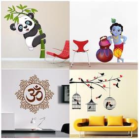 EJA Art Set of 4 Wall Sticker Love Birds With Hearts Cute Bal Krishna Makhan Chor Designer Om Baby Panda