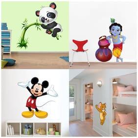 EJA Art Set of 4 Wall Sticker Cute Panda On Tree Cute Bal Krishna Makhan Chor Cute Mickey Mouse Cute Mouse