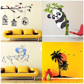EJA Art Set of 4 Wall Sticker Love Birds With Hearts Baby Panda Bansidhar Beach With Sunset