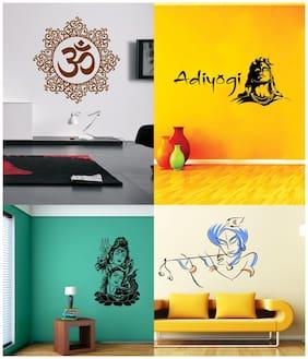 EJA Art Set of 4 Wall Sticker Shiv Parwati Adiyogi Bansidhar Designer Om