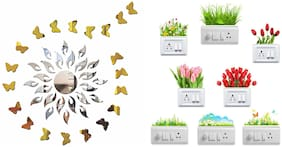 Eja Art Sun Silver With Golden Butterfly Acrylic Wall And Switch Board Sticker