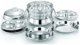 eKitchen Alisha Italia Stainless Steel All in One Idli Cooker / 3 Idli Plates / 1 Dhokla Plate / 1 Steamer Plate (13 Idlies)