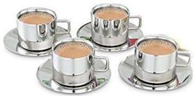 eKitchen Cup And Saucer Set (Set of 4 Coffee / Tea mugs and 4 saucers)