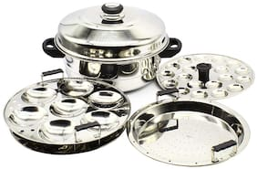eKitchen Diamond Stainless Steel Multi Steamer Pot- 2 Idli Plates (14 Idlis), 1 Mini Idli Plate (20 Mini Idlis) and 1 Multi Purpose Steamer/Idiyappam Steamer Plate