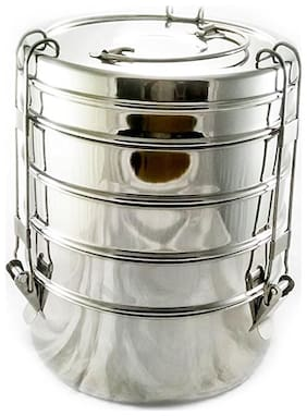 ekitchen Manav 5 Tier Stainless Steel Lunch Box/Tiffin Box (Size:10x5)