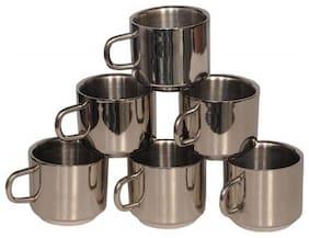 eKitchen Set of 6 Double Walled Stainless Steel Coffee & Tea Mugs
