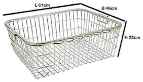 eKitchen Stainless Steel Square Pipe Tokra/Dish Draining Basket Large - (No : 1)