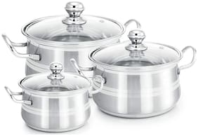 eKitchen Stainless Steel Set of 3 pcs Cook and Serve Dish(1L, 1.5L, 2L)